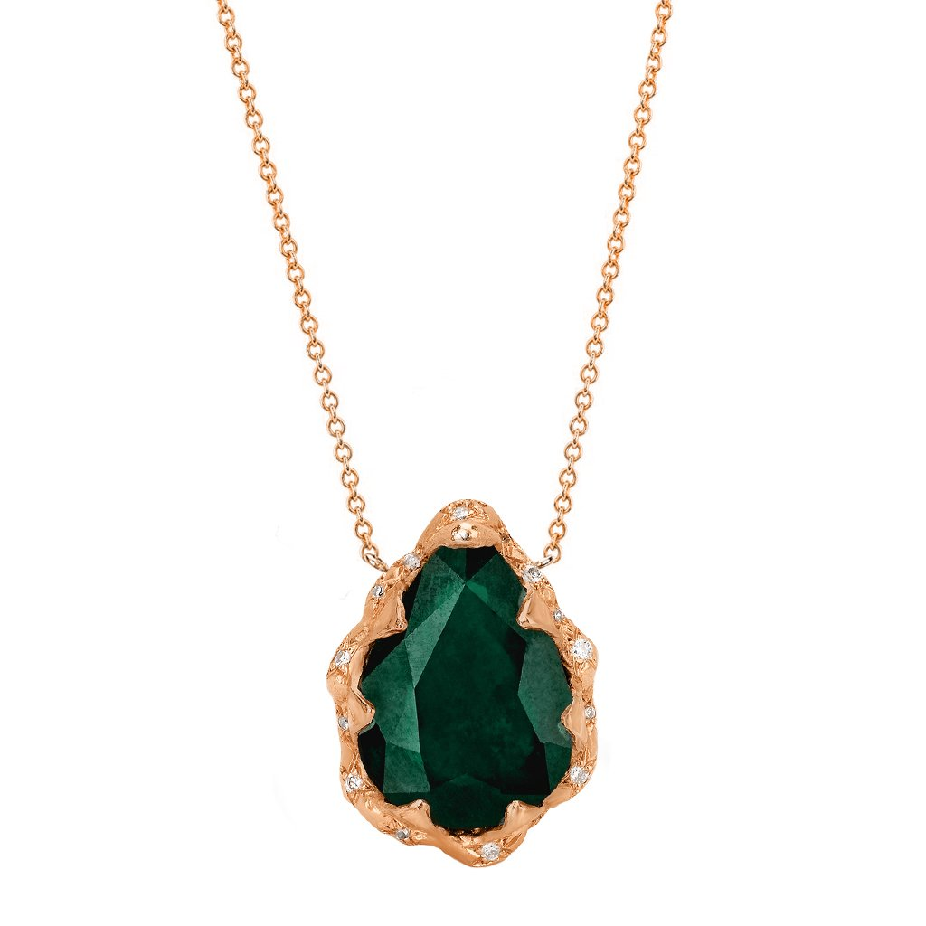 Queen Water Drop Zambian Emerald Necklace with Sprinkled Diamonds Queen Water Drop Zambian Emerald Necklace with Sprinkled Diamonds