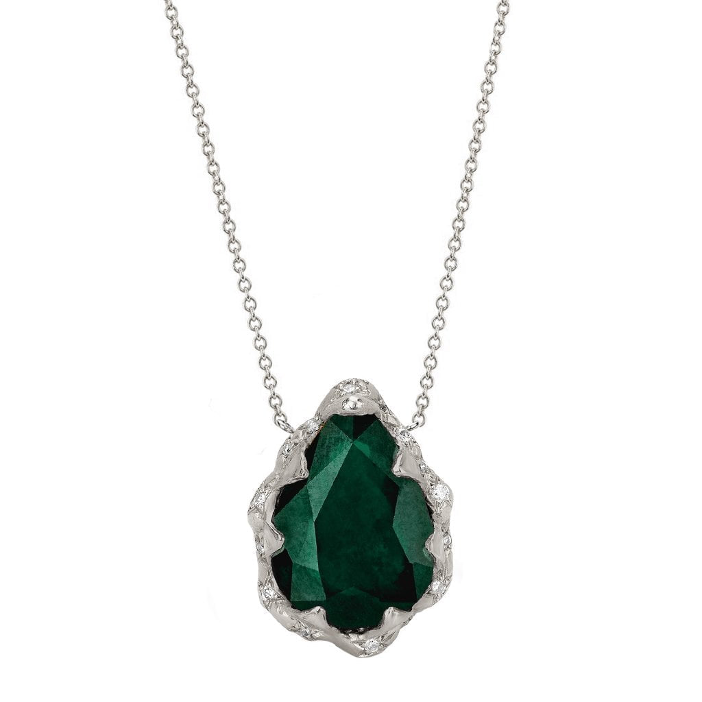 Queen Water Drop Zambian Emerald Necklace with Sprinkled Diamonds