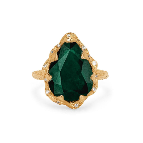 Queen Water Drop Zambian Emerald Ring With Sprinkled