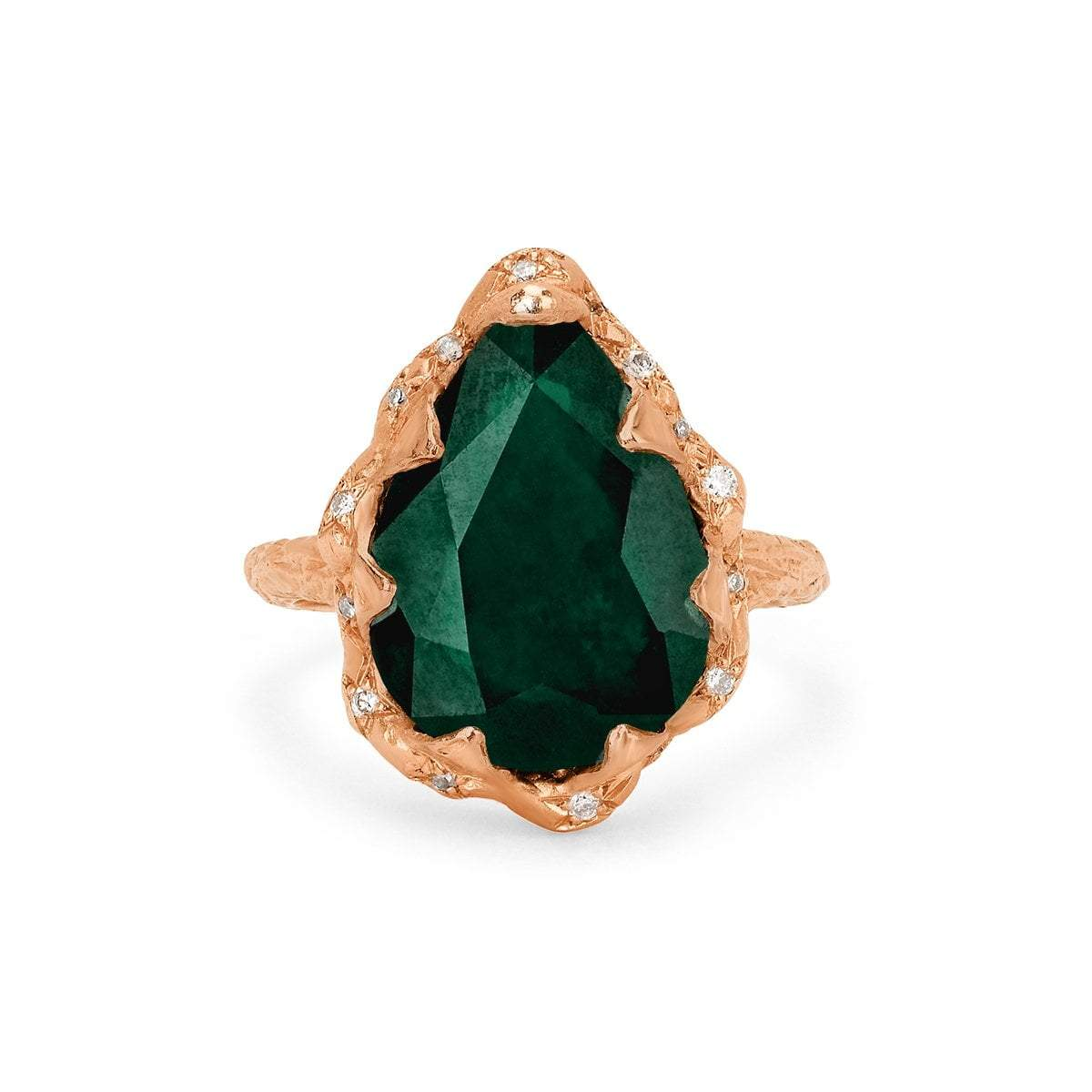 Queen Water Drop Zambian Emerald Ring with Sprinkled Diamonds