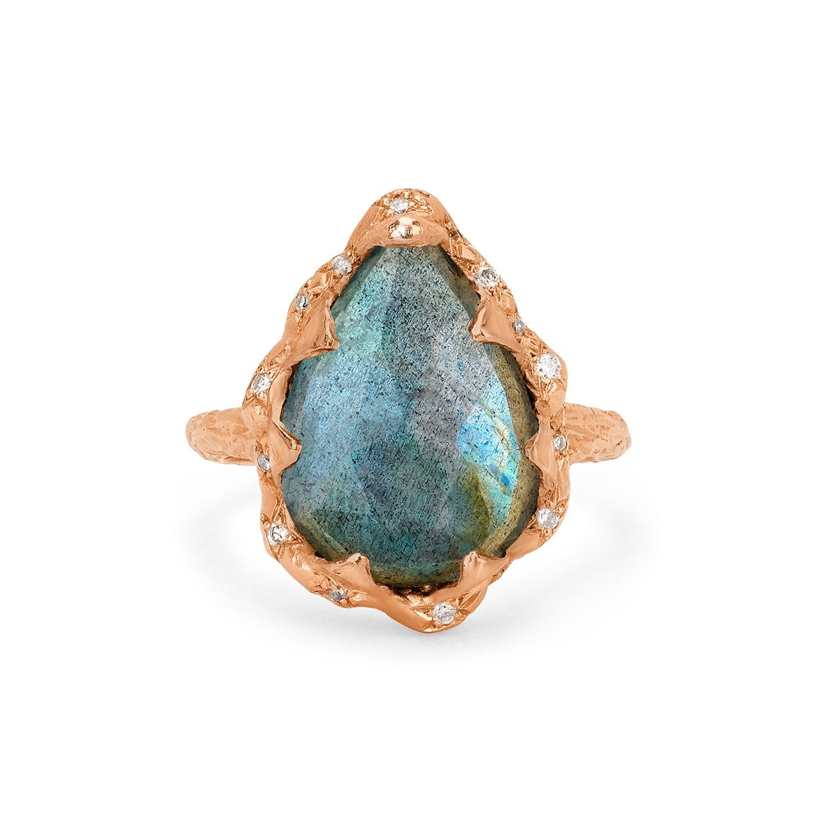 Queen Water Drop Labradorite Ring with Sprinkled Diamonds