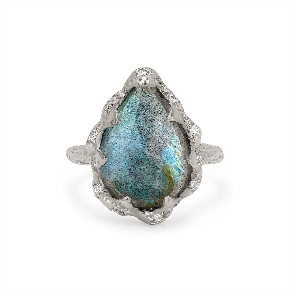 NEW! Queen Water Drop Labradorite Ring with Sprinkled Diamonds NEW! Queen Water Drop Labradorite Ring with Sprinkled Diamonds