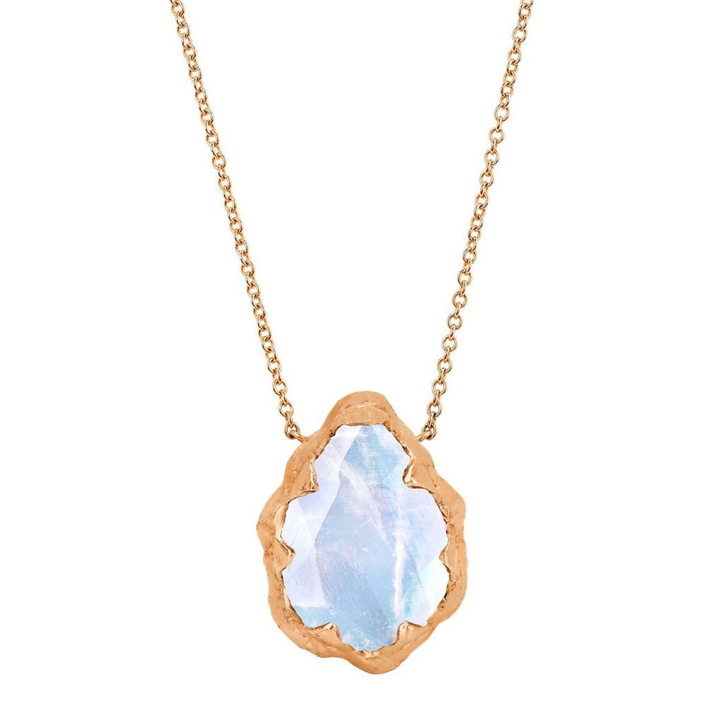 Queen Water Drop Moonstone Solitaire Necklace