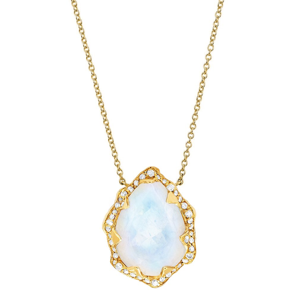 Queen Water Drop Moonstone Necklace with Full Pavé Diamond Halo