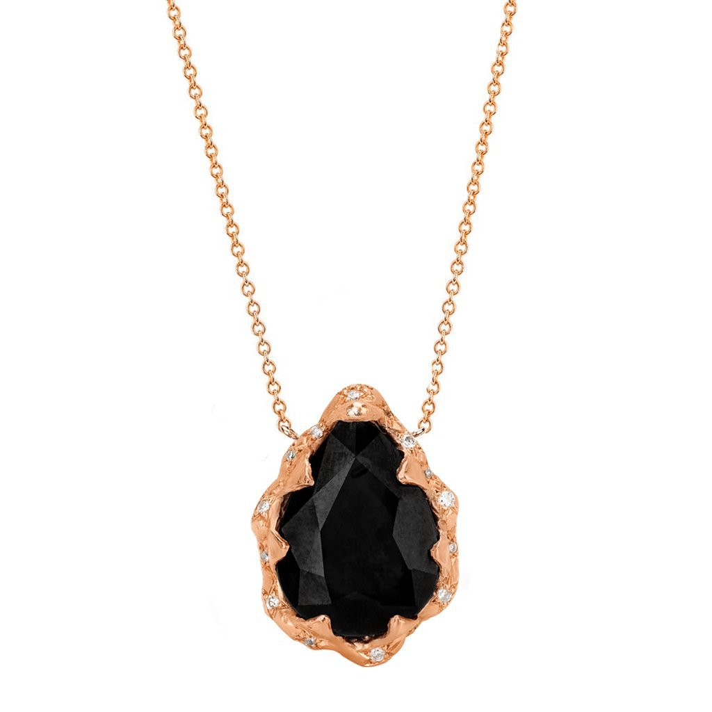 Queen Water Drop Onyx Necklace with Sprinkled Diamonds Queen Water Drop Onyx Necklace with Sprinkled Diamonds