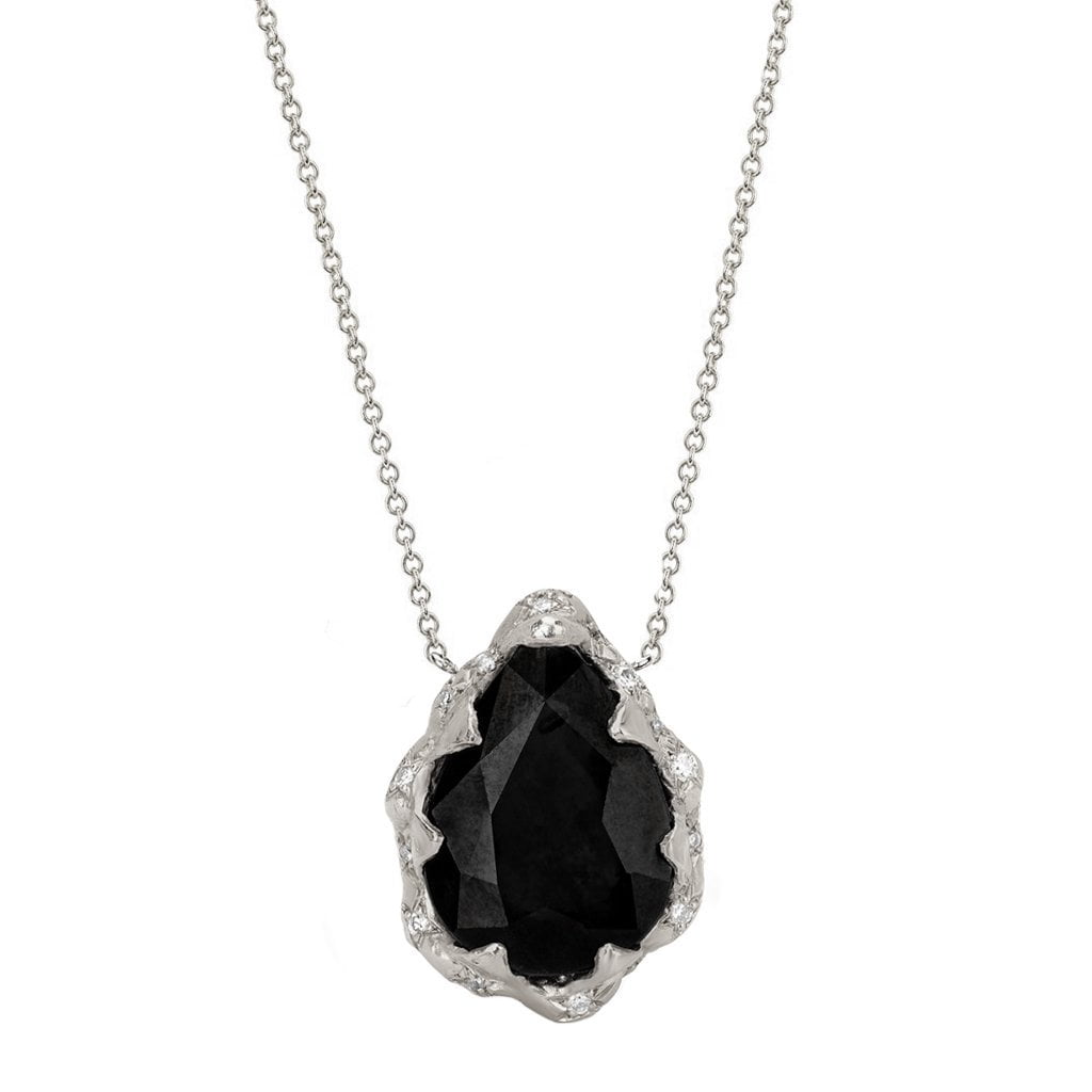 Queen Water Drop Onyx Necklace with Sprinkled Diamonds