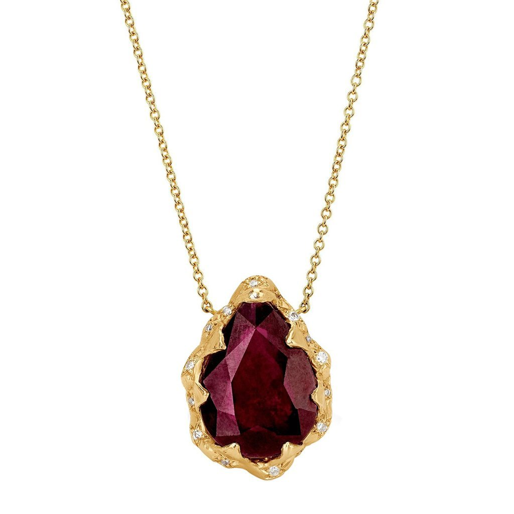 Queen Water Drop Ruby Necklace with Sprinkled Diamonds Queen Water Drop Ruby Necklace with Sprinkled Diamonds