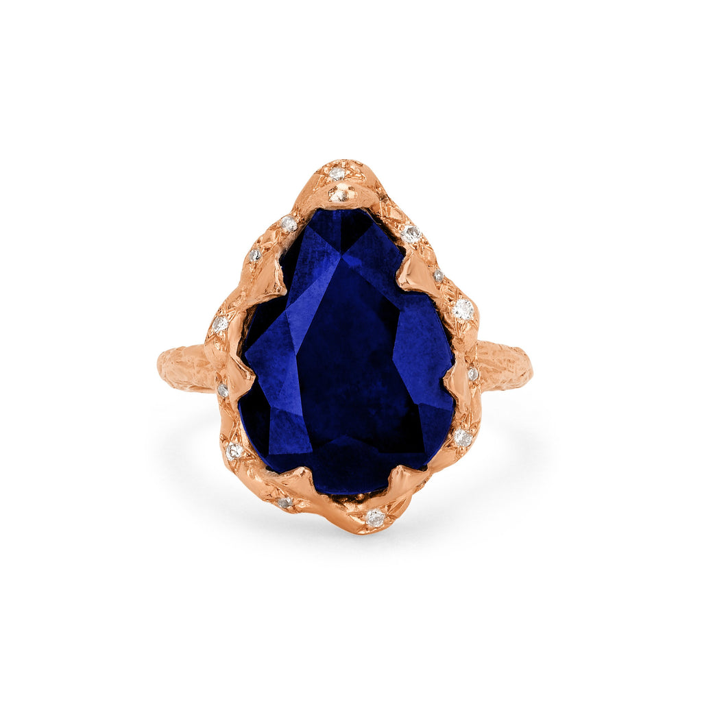 Queen Water Drop Sapphire Ring with Sprinkled Diamonds Queen Water Drop Sapphire Ring with Sprinkled Diamonds