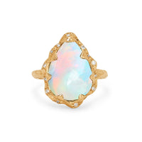 Queen Water Drop White Cabochon Opal Ring with Sprinkled Diamonds Queen Water Drop White Cabochon Opal Ring with Sprinkled Diamonds
