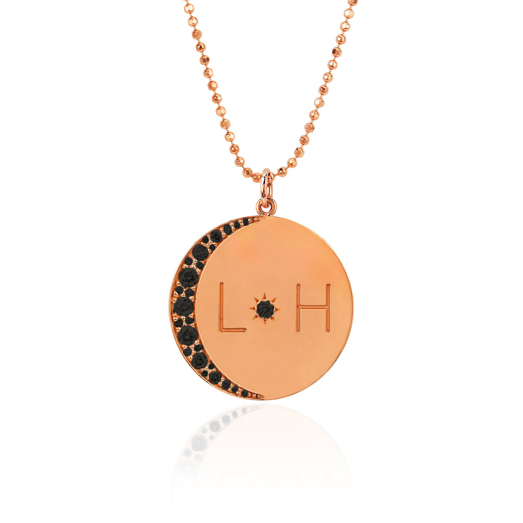 Love You To The Moon and Back Necklace with Black Diamonds on Ball Chain Rose Gold