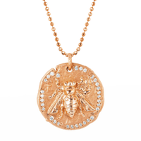 18k Sacred Honey Bee Coin Necklace Rose Gold