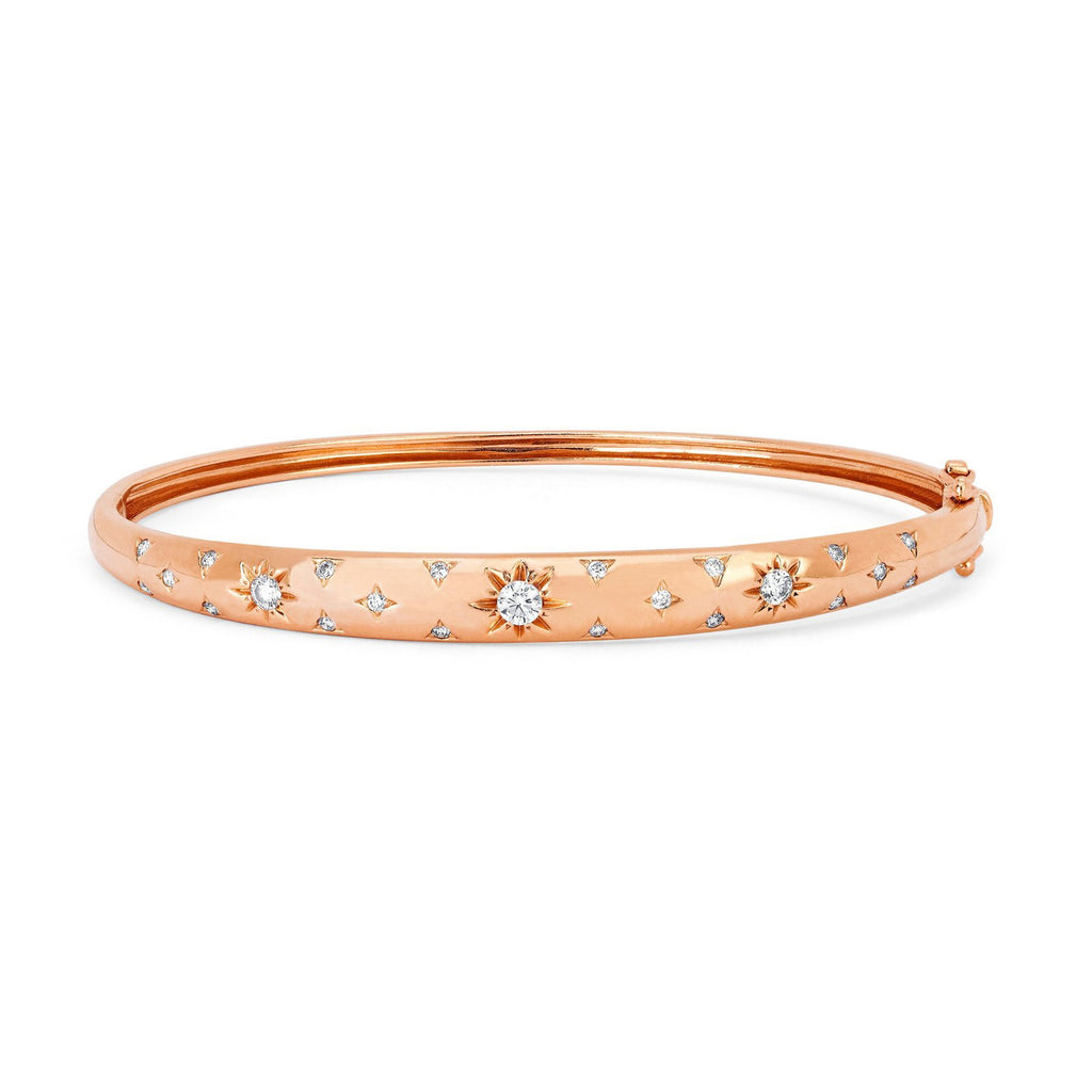 Pavé Star Set Diamond Bangle Rose Gold