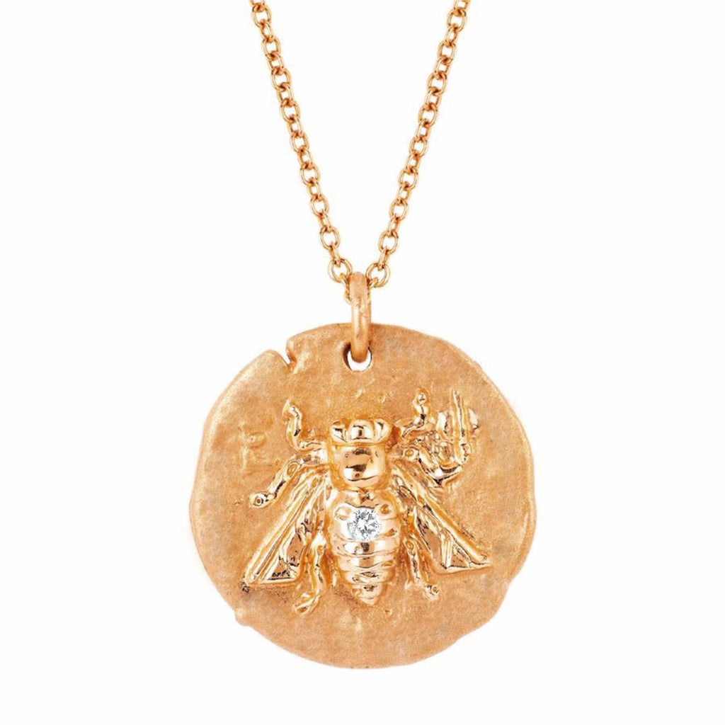 NEW! 18k Sacred Honey Bee Coin Necklace with Single Diamond NEW! 18k Sacred Honey Bee Coin Necklace with Single Diamond