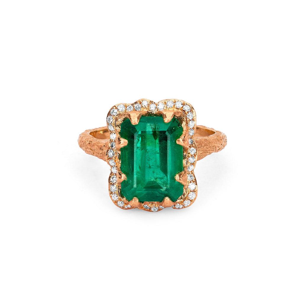 18k Queen Emerald Cut Emerald Ring with Full Pavé Diamond Halo Rose Gold