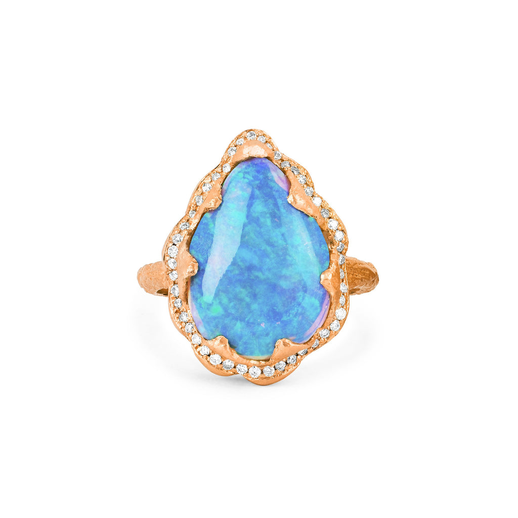 18k Queen Premium Water Drop Blue Opal Ring with Pave Diamond Halo Rose Gold