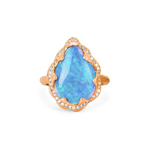 Premium Queen Water Drop Blue Opal Ring with Full Pavé Halo