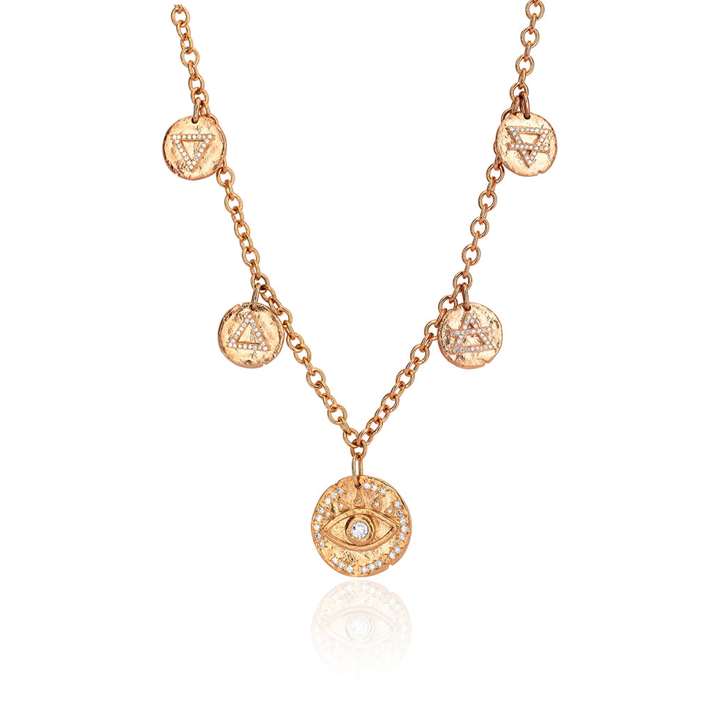 Earth's Elements Charm Necklace Rose Gold