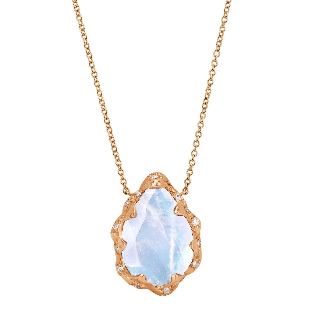 Queen Water Drop Moonstone Necklace with Sprinkled Diamonds Rose Gold