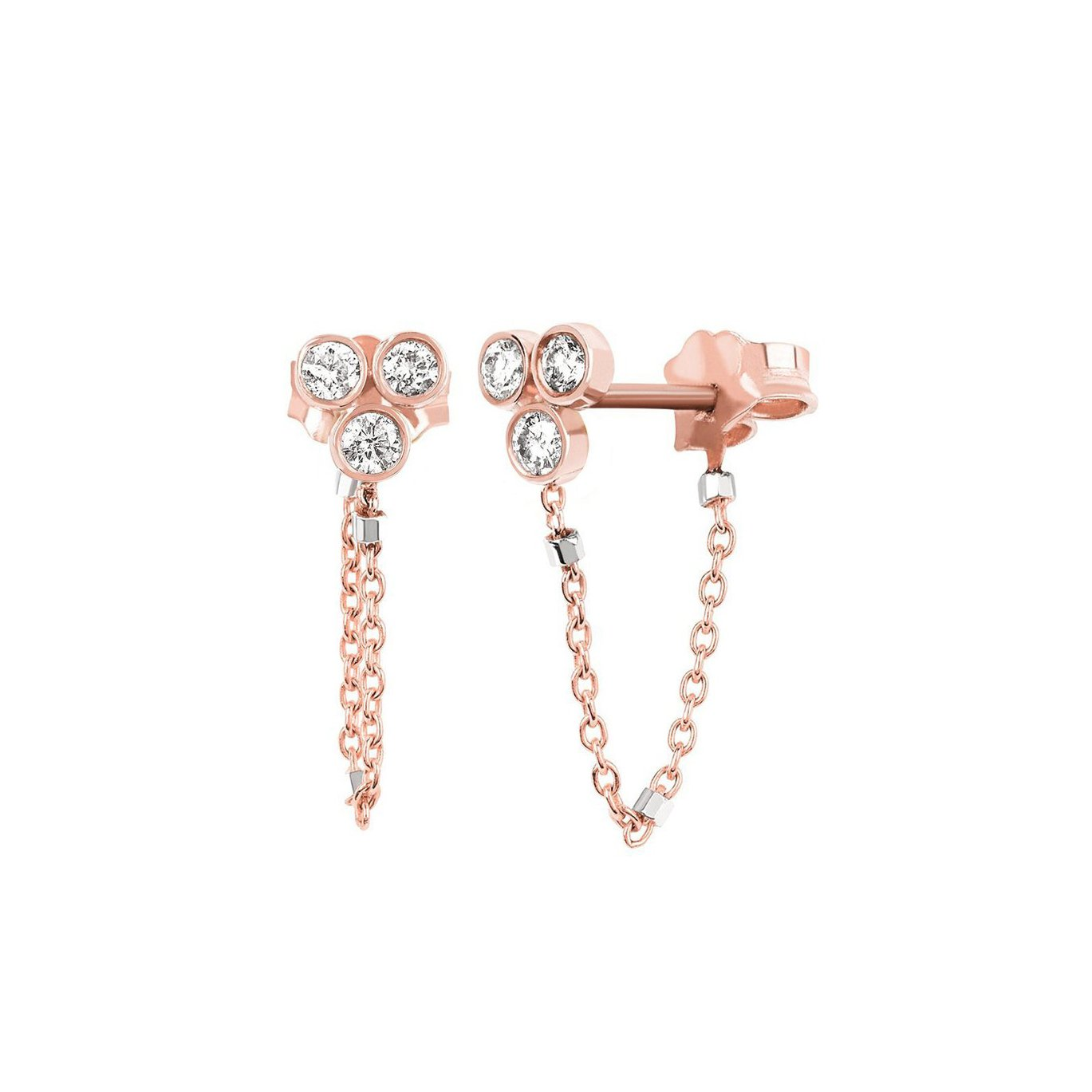 Star Shower 3 Diamond Twinkle Chain Earring