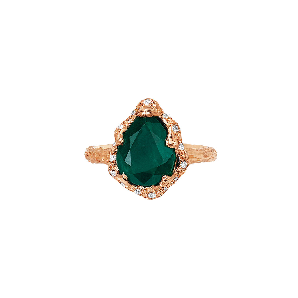 Baby Queen Water Drop Zambian Emerald Ring with Sprinkled Diamonds Rose Gold