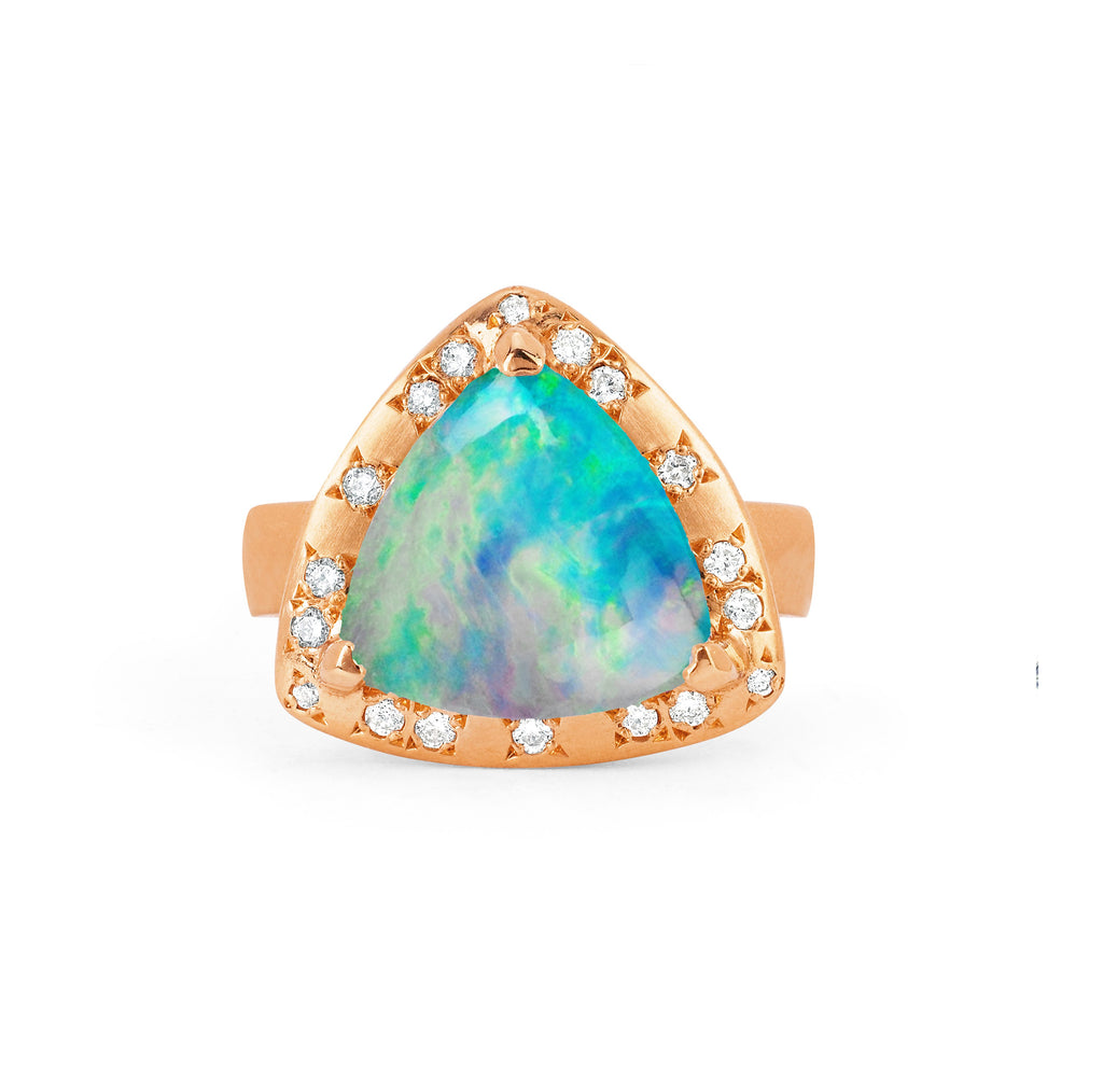 Wilderness Cabochon Blue Opal Ring with Diamonds Rose Gold