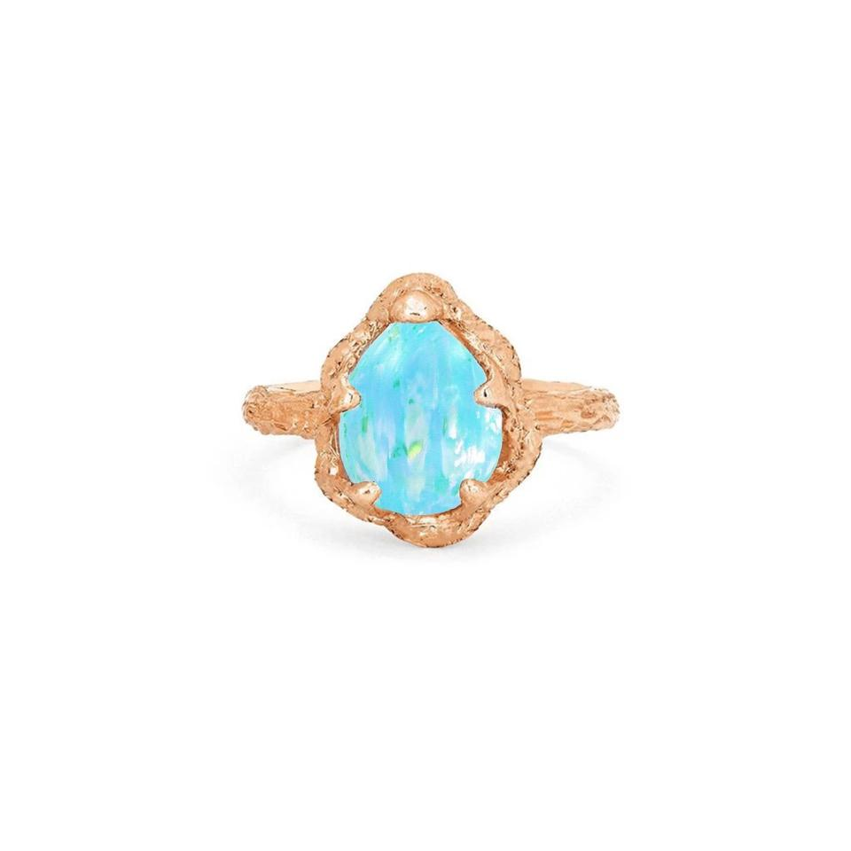 Premium Baby Queen Water Drop Blue Opal Solitaire Ring