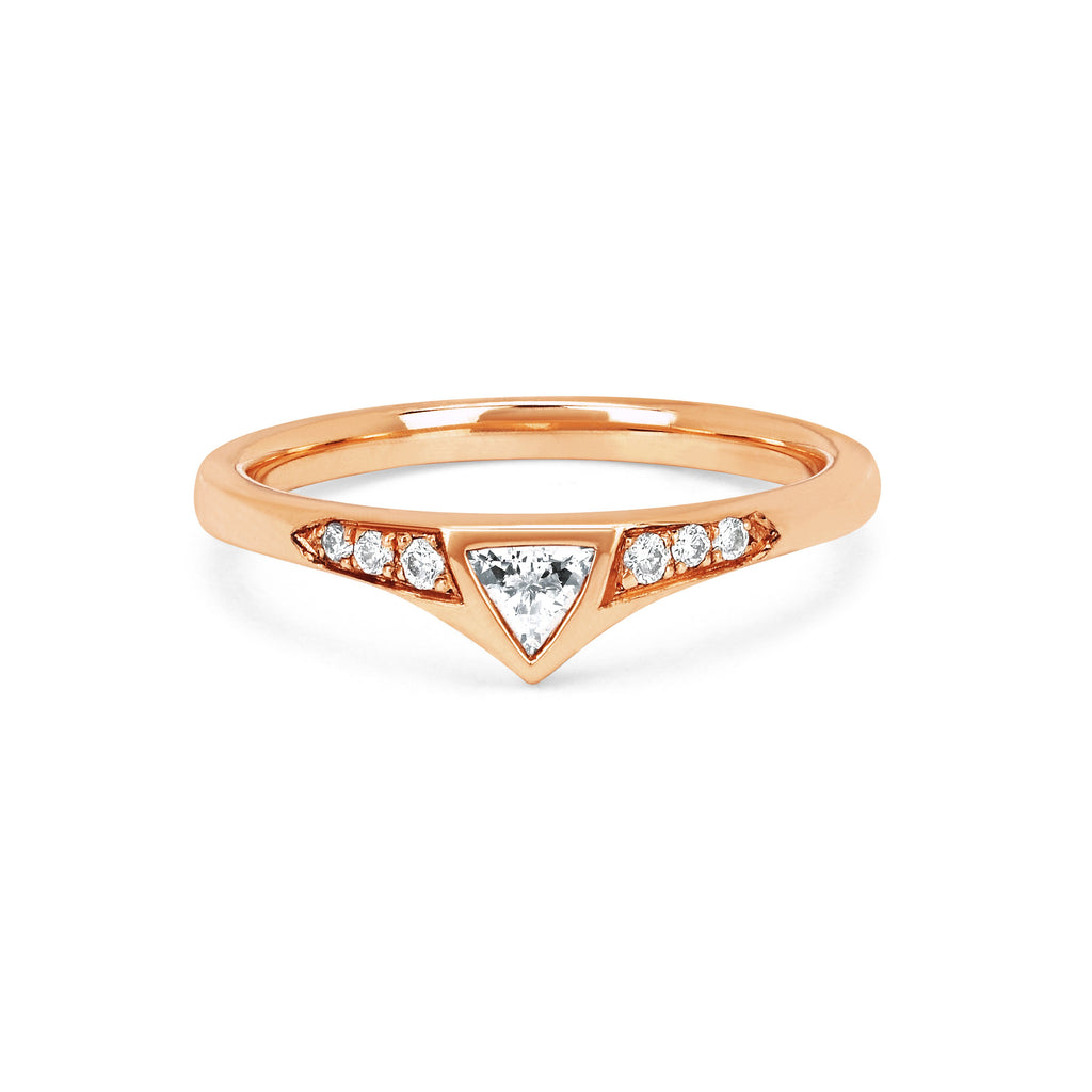 Trillion Diamond Queen Band Rose Gold
