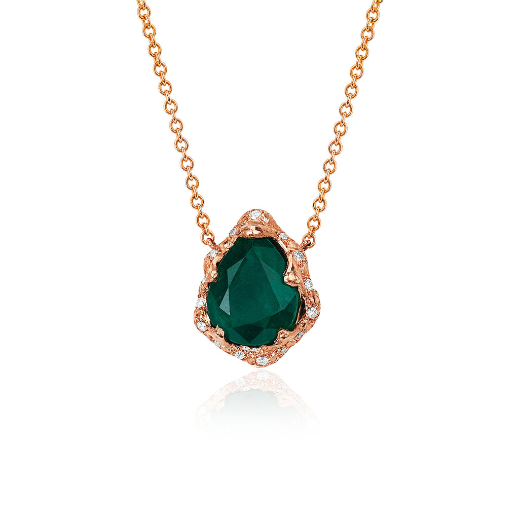 Baby Queen Water Drop Emerald Necklace with Sprinkled Diamonds Rose Gold