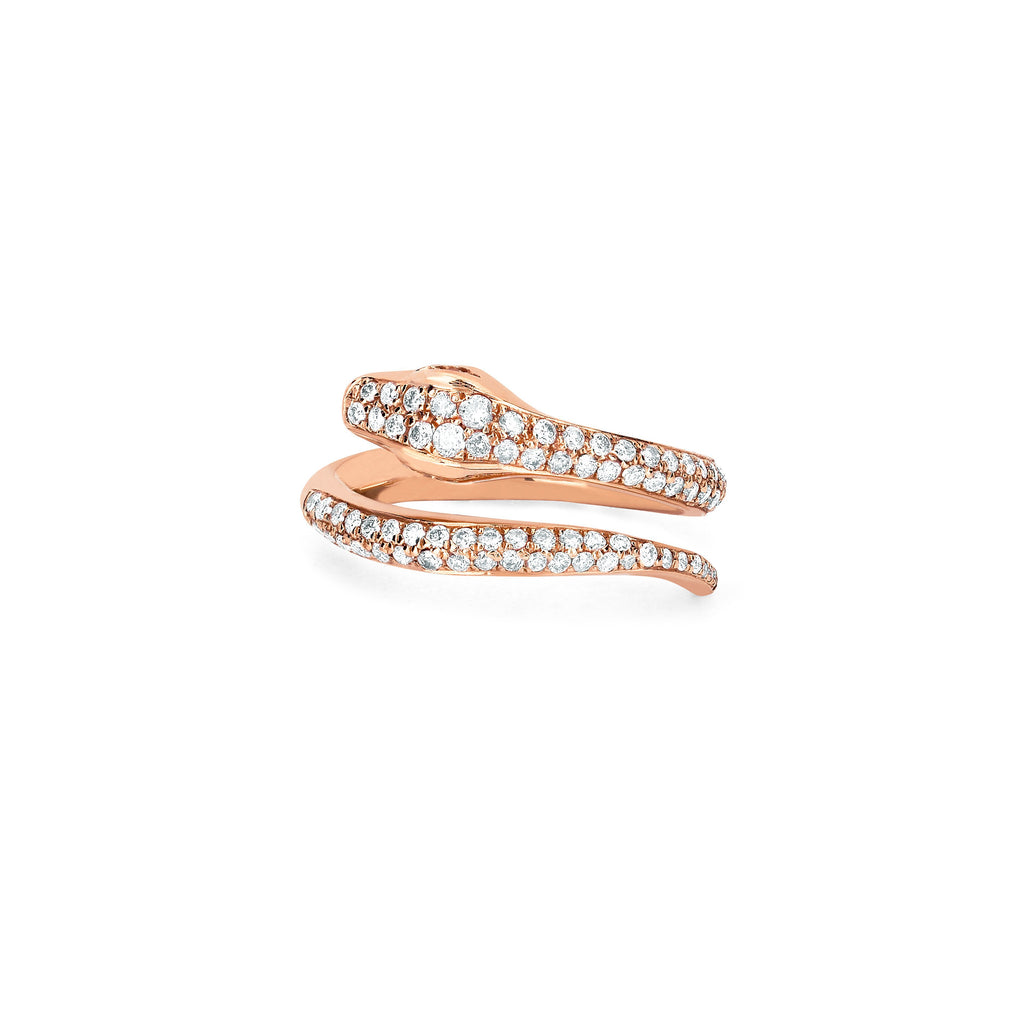 Kundalini Snake Coil Pinky Ring with Pavé Diamonds Rose Gold