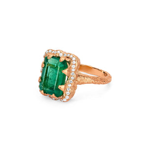 NEW! Emerald Cut Emerald Ring with Full Pavé Halo