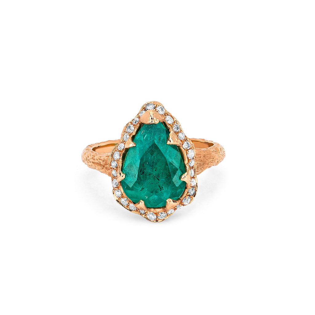 18k Premium Water Drop Colombian Emerald Queen Ring with Full Pavé Diamond Halo Rose Gold