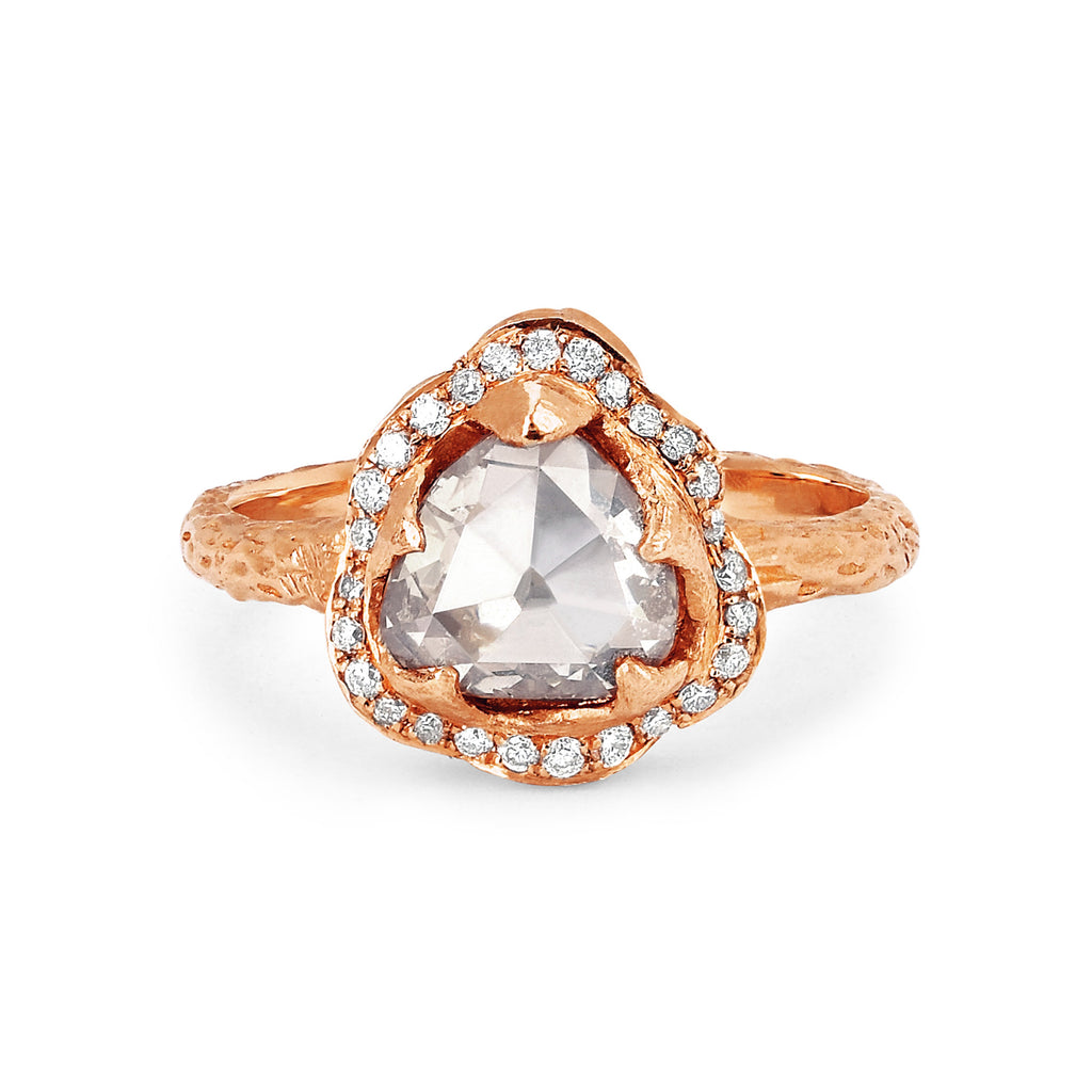 Queen Rose Cut Diamond Ring with Pavé Halo Rose Gold