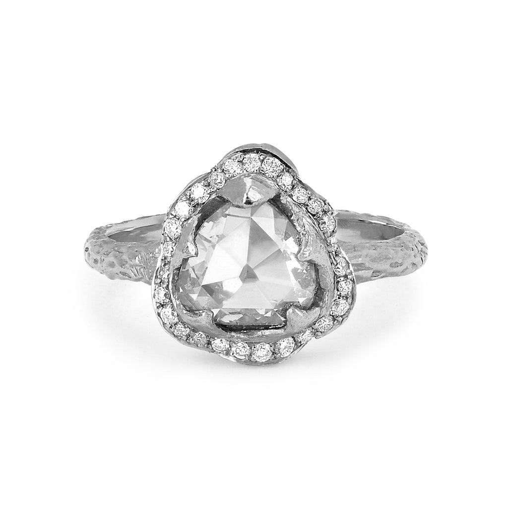 Queen Rose Cut Diamond Ring with Pavé Diamond Halo White Gold
