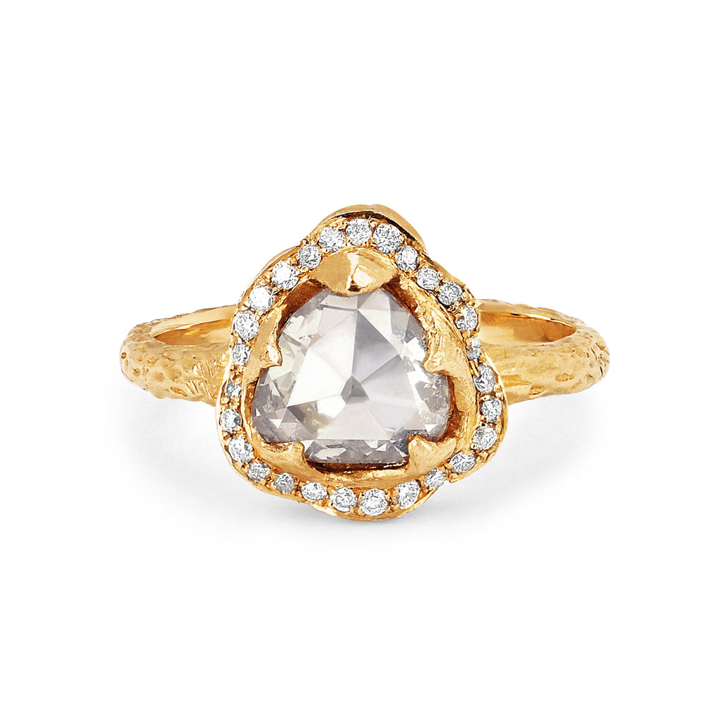 Queen Rose Cut Diamond Ring with Pavé Halo Yellow Gold