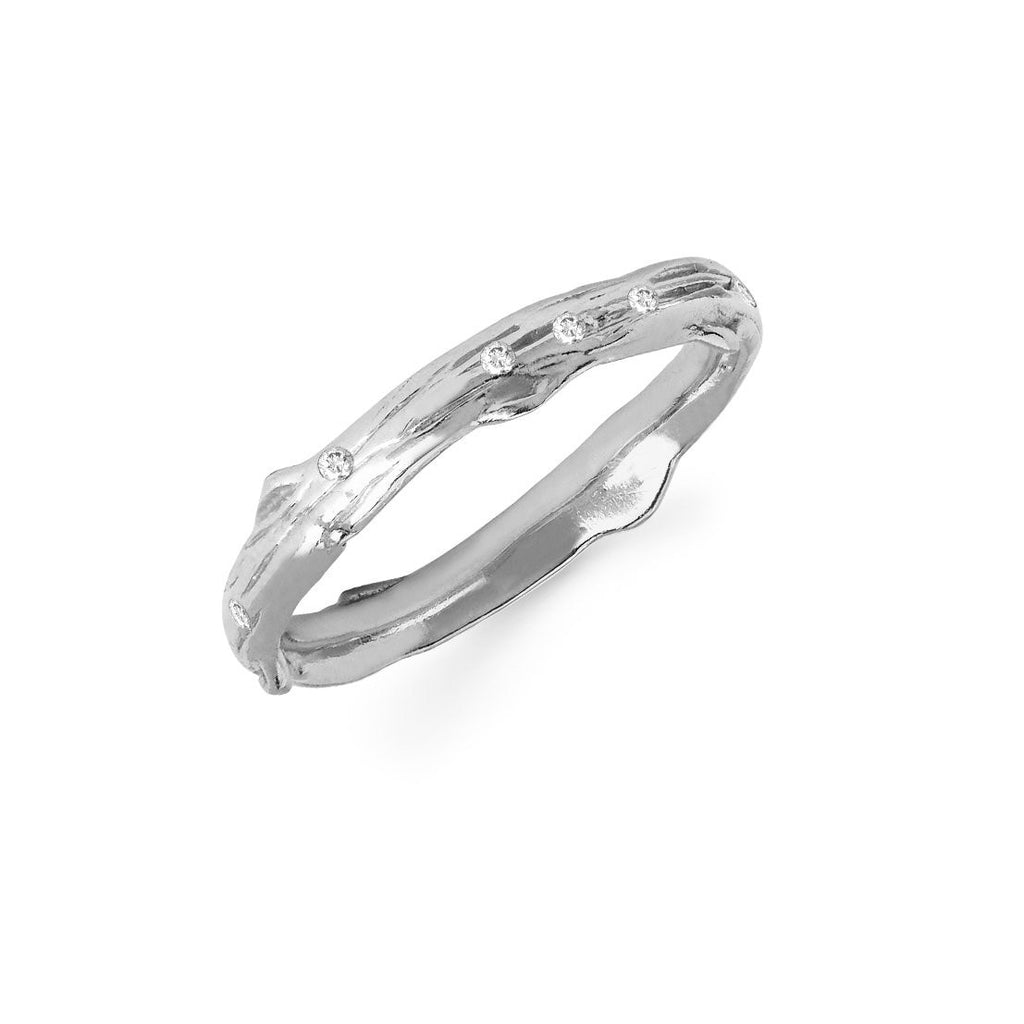 Rose Thorn Sprinkled Diamond Band White Gold