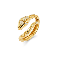 Rose Cut Diamond Snake Ring Yellow Gold