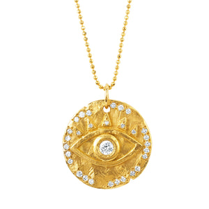 18k Diamond Eye of Protection Coin Pendant