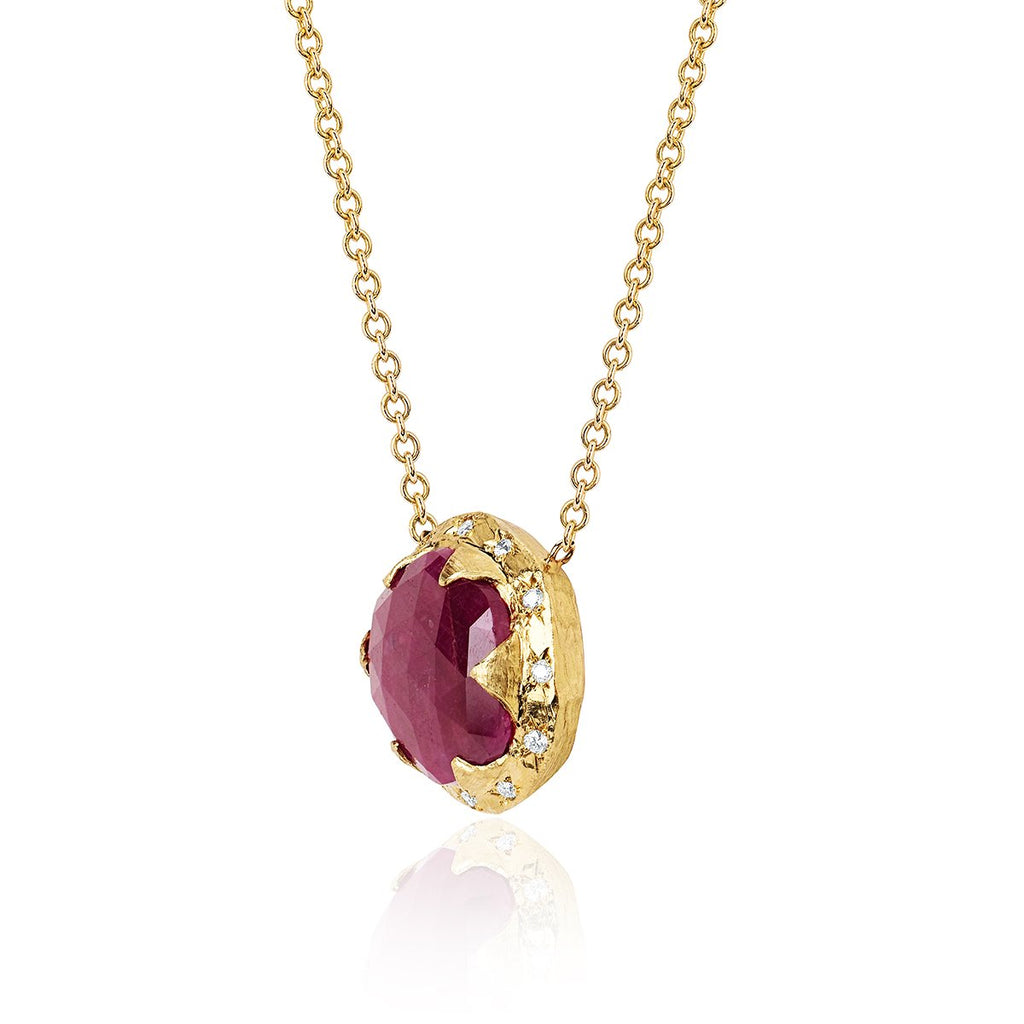 18k Rose Cut Oval Queen Ruby Necklace with Sprinkled Diamonds 18k Rose Cut Oval Queen Ruby Necklace with Sprinkled Diamonds
