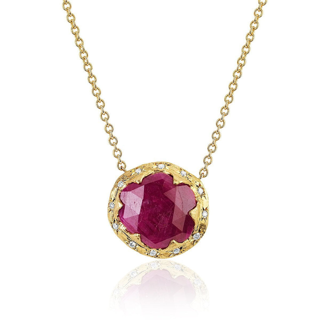 NEW! 18k Rose Cut Oval Queen Ruby Necklace with Sprinkled Diamonds NEW! 18k Rose Cut Oval Queen Ruby Necklace with Sprinkled Diamonds