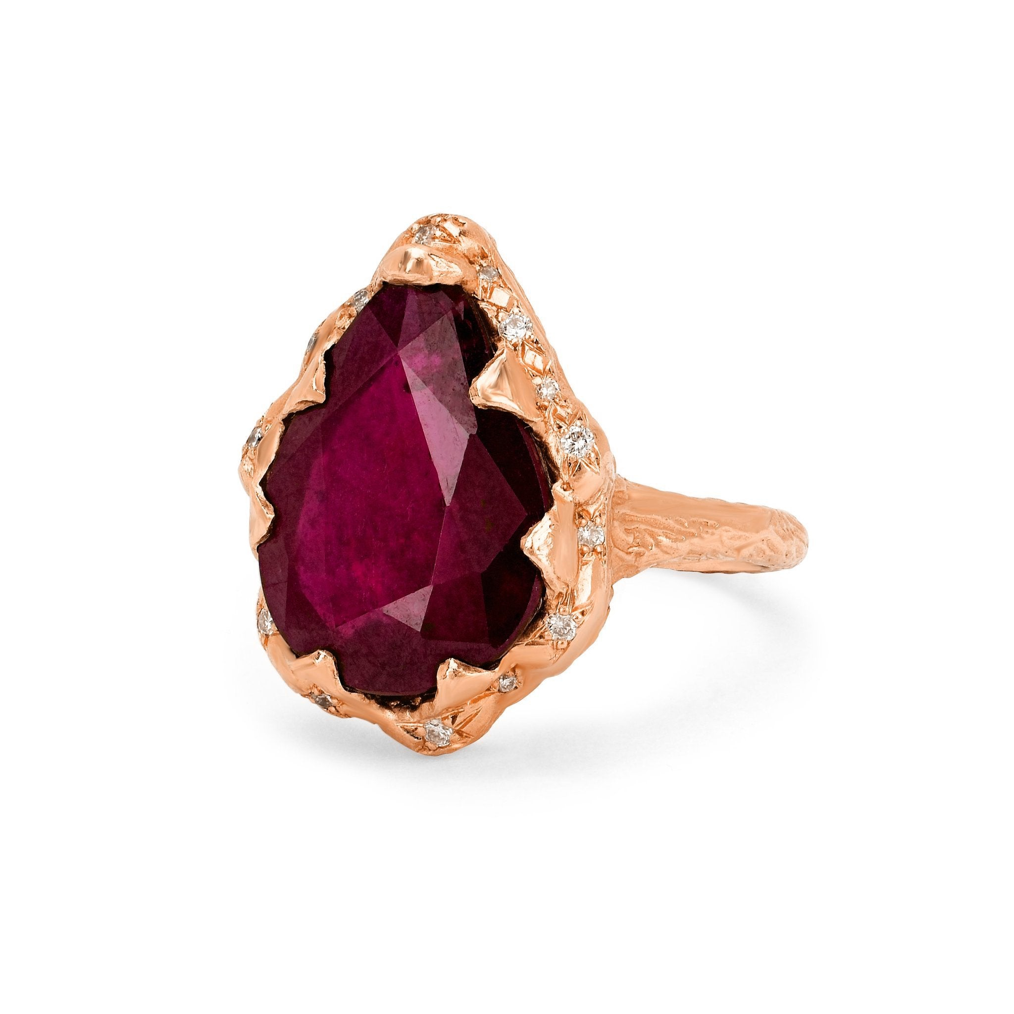 Queen Water Drop Ruby Ring with Sprinkled Diamonds