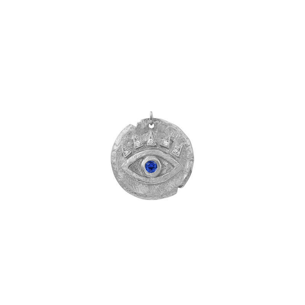 Sapphire Baby Eye of Protection Coin Charm White Gold