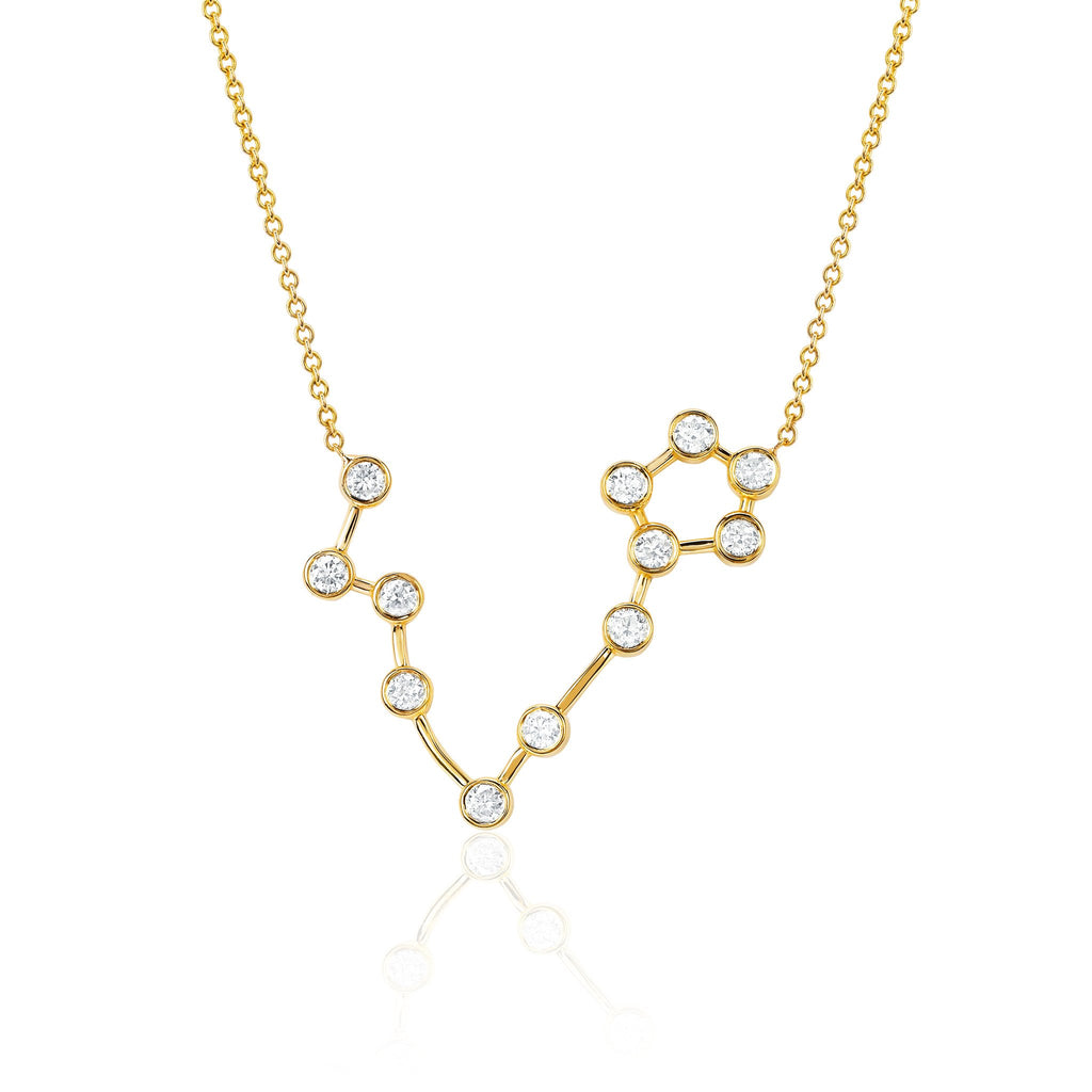 Pisces Constellation Necklace Yellow Gold