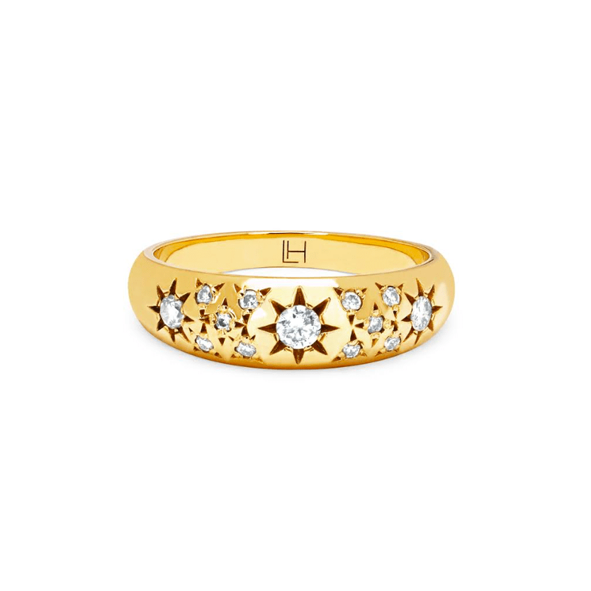 Pavé Star Set Rounded Ring