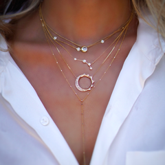 Full Silver Moon Solitaire Diamond Necklace