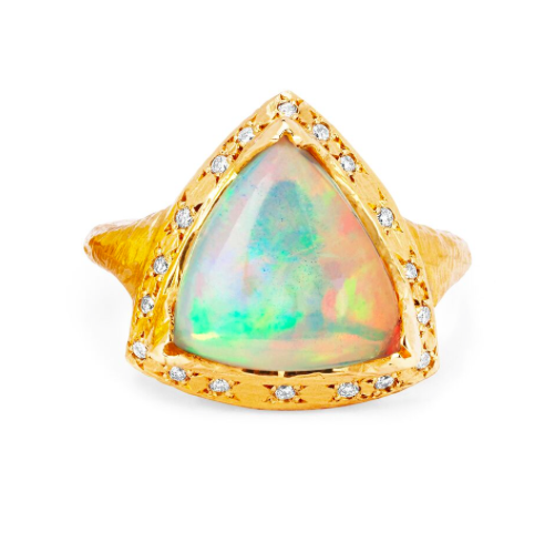 One of a Kind Cosmic Trillion Opal with Diamonds Yellow Gold