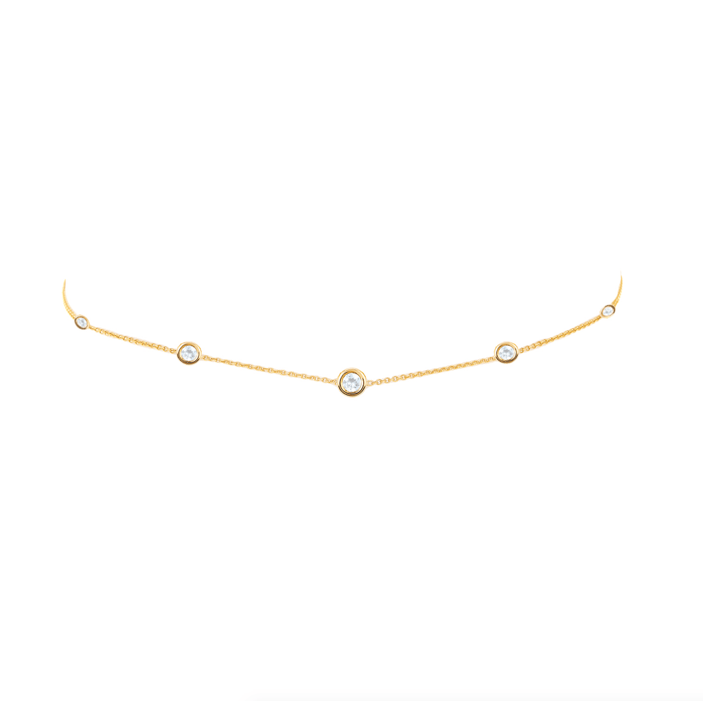 5 Moonstone Orbit Bezel Choker Yellow Gold