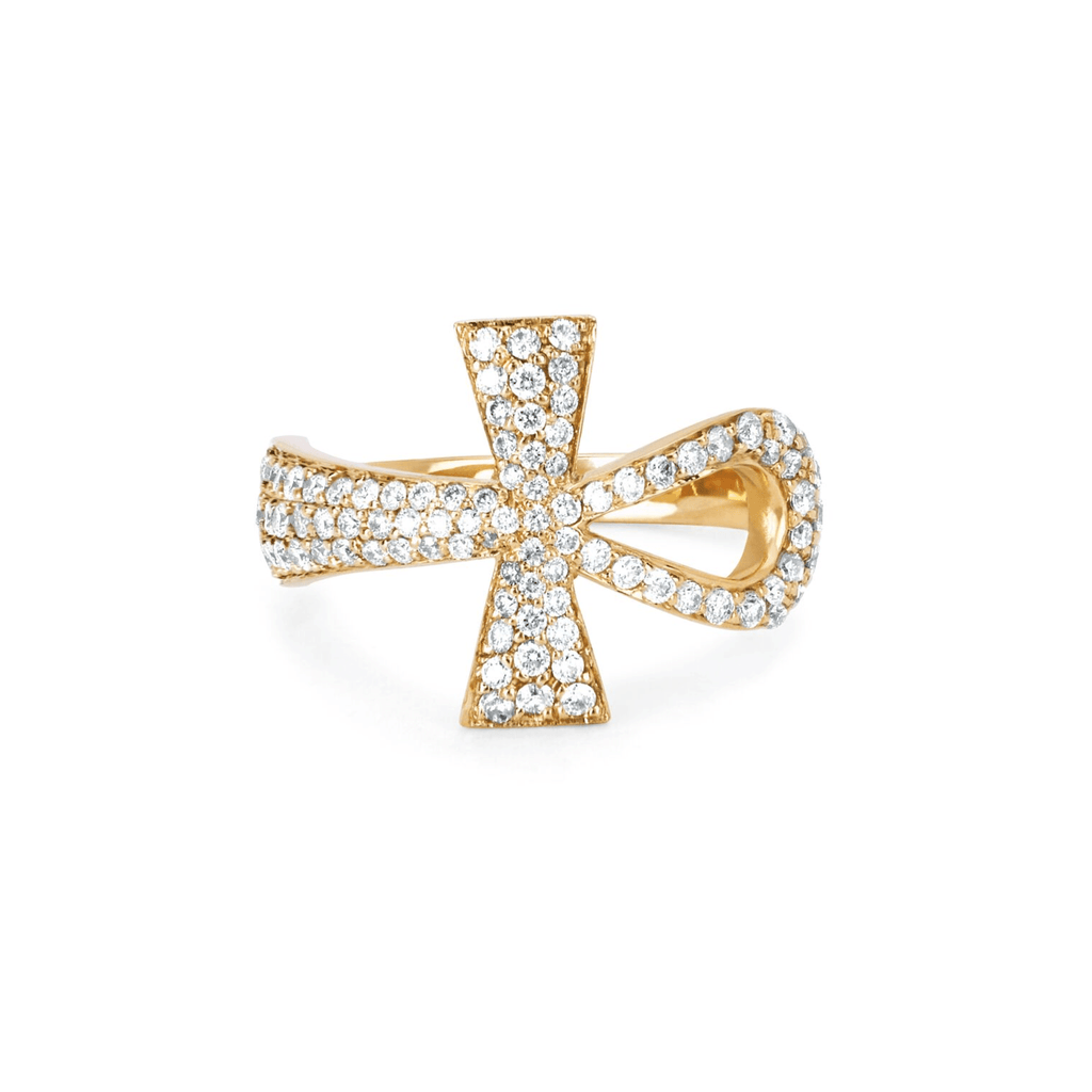 Eternal Ankh Full Pavé Ring Yellow Gold