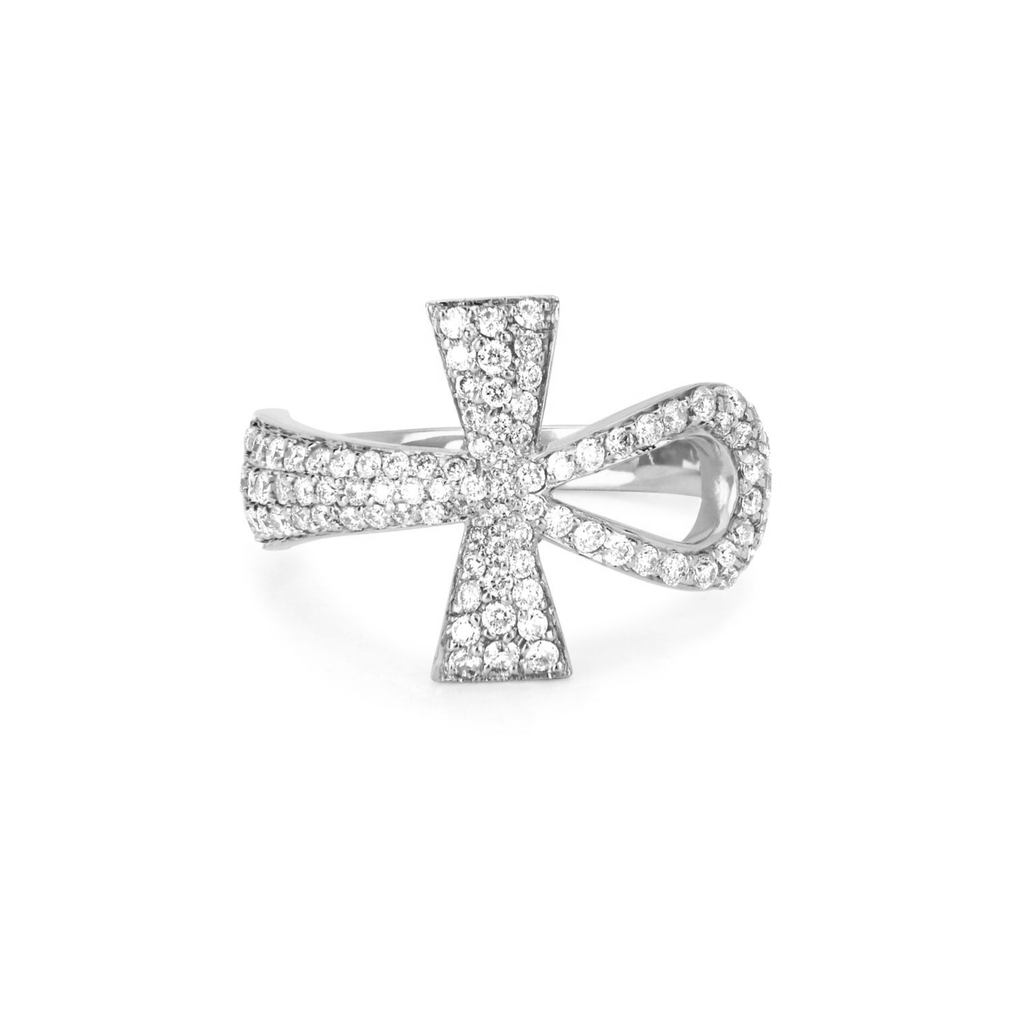 Eternal Ankh Full Pavé Ring White Gold