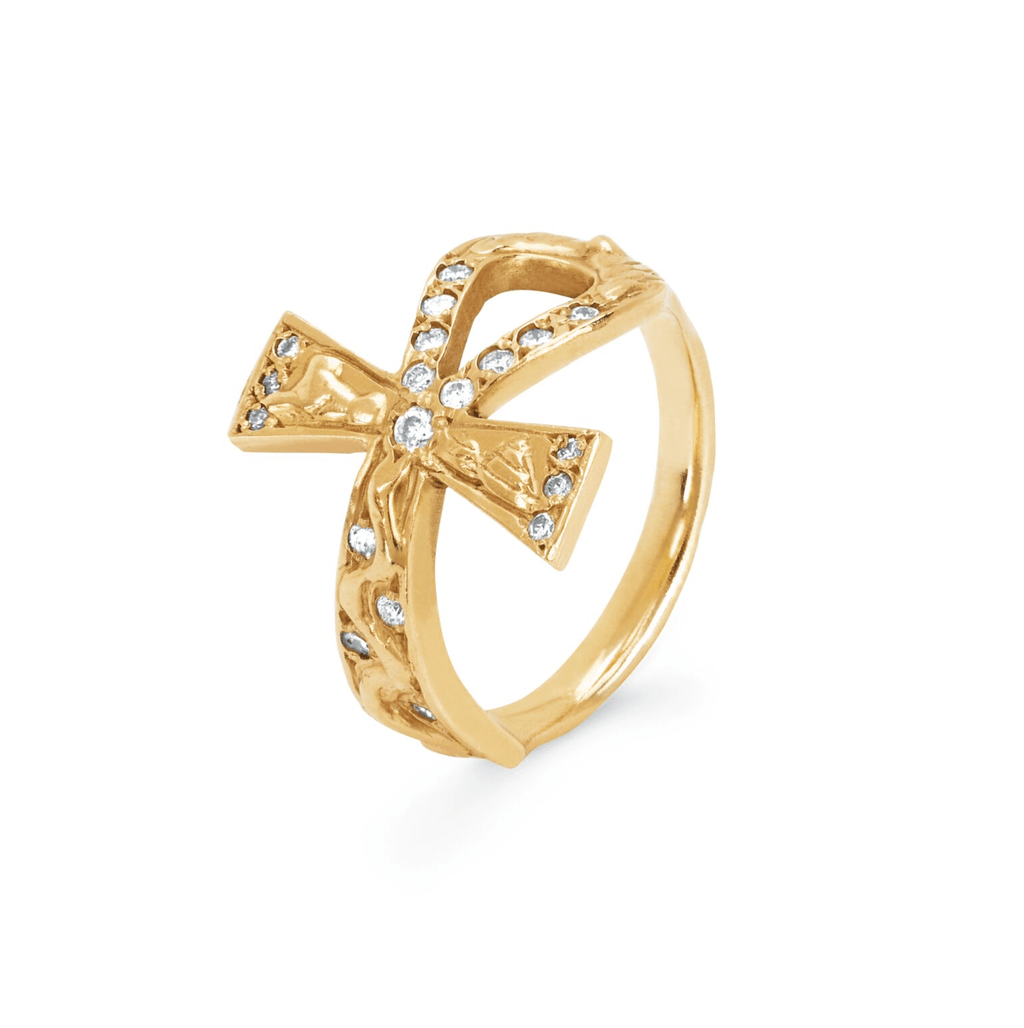 Eternal Ankh Cross Ring with Sprinkled Diamonds Eternal Ankh Cross Ring with Sprinkled Diamonds
