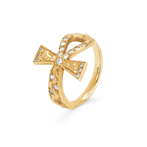 Eternal Ankh Cross Ring with Sprinkled Diamonds